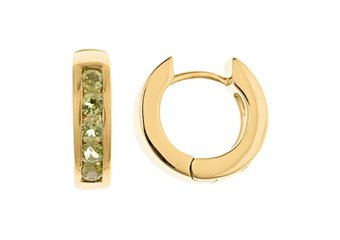 PERIDOT HOOP EARRINGS BRILLIANT ROUND CUT 14KT YELLOW GOLD