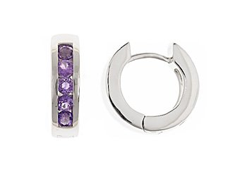 AMETHYST HOOP EARRINGS BRILLIANT ROUND CUT 14KT WHITE GOLD