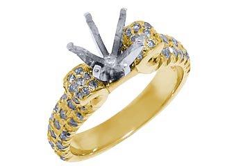 .92 CARAT WOMENS DIAMOND ENGAGEMENT RING SEMI-MOUNT ROUND CUT YELLOW GOLD