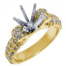 .92 CARAT WOMENS DIAMOND ENGAGEMENT RING SEMI-MOUNT ROUND CUT YELLOW GOLD