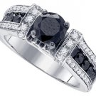 BLACK DIAMOND ENGAGEMENT RING 2.35 CARATS BRILLIANT ROUND CUT WHITE GOLD
