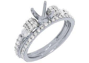 1.10 CARAT WOMENS DIAMOND ENGAGEMENT RING SEMI-MOUNT SET ROUND CUT WHITE GOLD