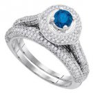 WOMENS BRILLIANT ROUND BLUE DIAMOND ENGAGEMENT HALO RING WEDDING BAND BRIDAL SET