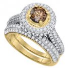 WOMENS COGNAC CHAMPAGNE DIAMOND ENGAGEMENT HALO RING WEDDING BAND BRIDAL SET