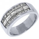MENS 2.20 CARAT PRINCESS BAGUETTE CUT DIAMOND RING WEDDING BAND 18KT WHITE GOLD