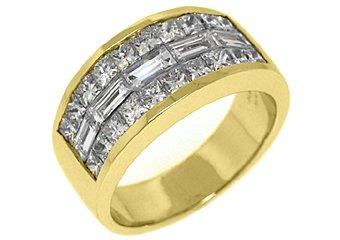 MENS 3.25 CARAT PRINCESS BAGUETTE CUT DIAMOND RING WEDDING BAND 18KT YELLOW GOLD