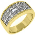 MENS 3.25 CARAT PRINCESS BAGUETTE CUT DIAMOND RING WEDDING BAND 18KT YELLOW GOLD