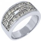 MENS 3.25 CARAT PRINCESS BAGUETTE CUT DIAMOND RING WEDDING BAND 18KT WHITE GOLD