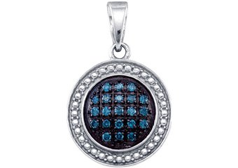 .20 Carat Blue Diamond Pendant Brilliant Round Cut White Gold