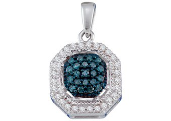 .20 Carat Blue Diamond Hexagon Pendant Brilliant Round Cut White Gold