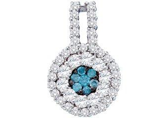 1 Carat Blue Diamond Pendant Brilliant Round Cut White Gold