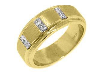 MENS .65 CARAT PRINCESS SQUARE CUT DIAMOND RING WEDDING BAND 14KT YELLOW GOLD