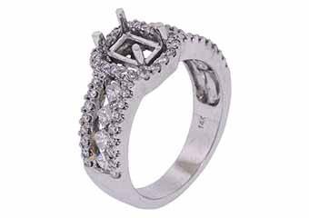 1.12 CARAT WOMENS DIAMOND HALO ENGAGEMENT RING SEMI-MOUNT EMERALD CUT WHITE GOLD
