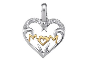 Diamond Mom Pendant Mothers Day Gift 925 Sterling Silver .03 Carats