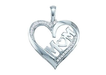 Diamond Mom Pendant Mothers Day Gift 10k White Gold .08 Carats