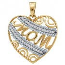 Diamond Mom Pendant Mothers Day Gift 10k Yellow & White Gold .10 Carats