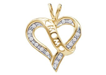 Diamond Mom Pendant Mothers Day Gift 10k Yellow Gold .12 Carats