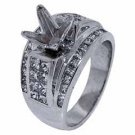 1.89 CARAT WOMENS DIAMOND ENGAGEMENT RING SEMI-MOUNT PRINCESS CUT WHITE GOLD