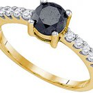 1 CARAT BLACK DIAMOND ENGAGEMENT RING BRILLIANT ROUND CUT YELLOW GOLD