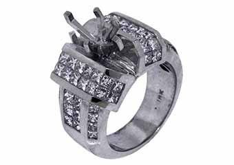 3.88 CARAT WOMENS DIAMOND ENGAGEMENT RING SEMI-MOUNT PRINCESS CUT WHITE GOLD