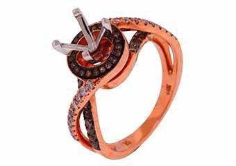 .72 CARAT WOMENS CHAMPAGNE DIAMOND HALO ENGAGEMENT RING SEMI-MOUNT ROSE GOLD