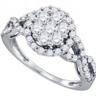 1.02 CARAT WOMENS DIAMOND ENGAGEMENT RING BRILLIANT ROUND CUT SHAPE WHITE GOLD