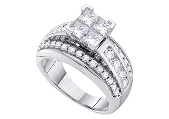 1.5 CARAT WOMENS DIAMOND ENGAGEMENT RING PRINCESS CUT SHAPE WHITE GOLD