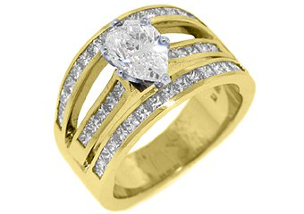 3 CARAT WOMENS DIAMOND ENGAGEMENT WEDDING RING PEAR SHAPE PRINCESS YELLOW GOLD