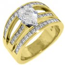 3 CARAT WOMENS DIAMOND ENGAGEMENT WEDDING RING PEAR SHAPE PRINCESS YELLOW GOLD