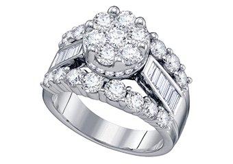 3 CARAT WOMENS DIAMOND ENGAGEMENT RING BRILLIANT ROUND CUT SHAPE WHITE GOLD