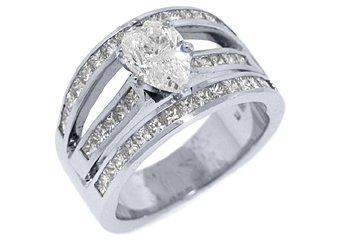 3 CARAT WOMENS DIAMOND ENGAGEMENT WEDDING RING PEAR SHAPE PRINCESS WHITE GOLD