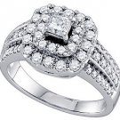 1 CARAT WOMENS DIAMOND ENGAGEMENT HALO RING PRINCESS CUT SHAPE WHITE GOLD