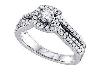 .76 CARAT WOMENS DIAMOND ENGAGEMENT HALO RING BRILLIANT ROUND SHAPE WHITE GOLD