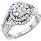 1.01 CARAT WOMENS DIAMOND ENGAGEMENT HALO RING BRILLIANT ROUND SHAPE WHITE GOLD