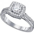 1 CARAT WOMENS DIAMOND ENGAGEMENT HALO RING BRILLIANT ROUND SHAPE WHITE GOLD