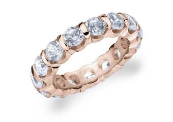 DIAMOND ETERNITY BAND WEDDING RING ROUND BAR SET 14K ROSE GOLD 4.00 CARATS