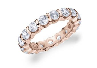 DIAMOND ETERNITY BAND WEDDING RING ROUND BAR SET 14K ROSE GOLD 3.00 CARATS