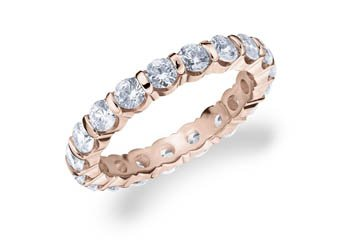 DIAMOND ETERNITY BAND WEDDING RING ROUND BAR SET 14K ROSE GOLD 2.00 CARATS