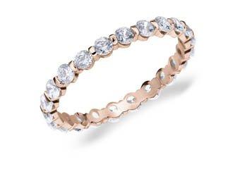 DIAMOND ETERNITY BAND WEDDING RING ROUND BAR SET 14K ROSE GOLD 1 CARAT