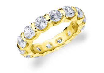 DIAMOND ETERNITY BAND WEDDING RING ROUND BAR SET 14K YELLOW GOLD 5.00 CARATS
