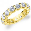 DIAMOND ETERNITY BAND WEDDING RING ROUND BAR SET 14K YELLOW GOLD 4.00 CARATS