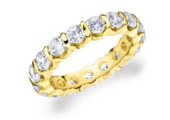 DIAMOND ETERNITY BAND WEDDING RING ROUND BAR SET 14K YELLOW GOLD 3.00 CARATS