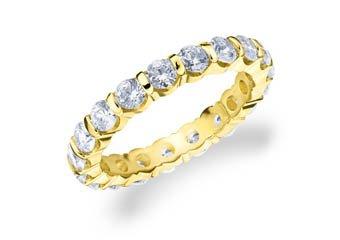DIAMOND ETERNITY BAND WEDDING RING ROUND BAR SET 14K YELLOW GOLD 2.00 CARATS