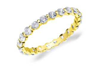 DIAMOND ETERNITY BAND WEDDING RING ROUND BAR SET 14K YELLOW GOLD 1 CARAT