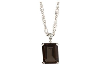 "SMOKEY QUARTZ PENDANT 16x12MM EMERALD SHAPE 925 SILVER w 18"" CHAIN"
