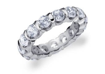 DIAMOND ETERNITY BAND WEDDING RING ROUND BAR SET 14K WHITE GOLD 4.00 CARATS