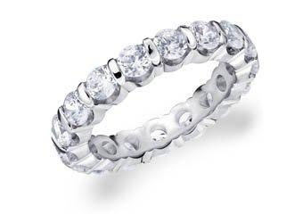 DIAMOND ETERNITY BAND WEDDING RING ROUND BAR SET 14K WHITE GOLD 3.00 CARATS