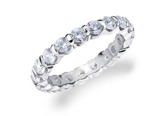 DIAMOND ETERNITY BAND WEDDING RING ROUND BAR SET 14K WHITE GOLD 2.00 CARATS