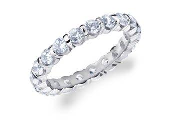 DIAMOND ETERNITY BAND WEDDING RING ROUND BAR SET 14K WHITE GOLD 1.50 CARATS