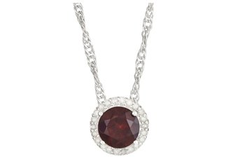 "GARNET & DIAMOND HALO PENDANT 7mm BRILLIANT ROUND CUT 925 SILVER w 18"" CHAIN"